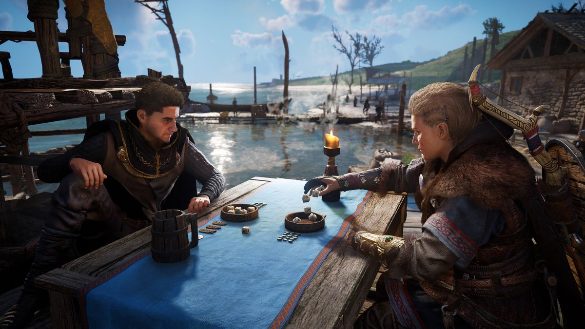 Eivor playing a game of dice on the waterfront
