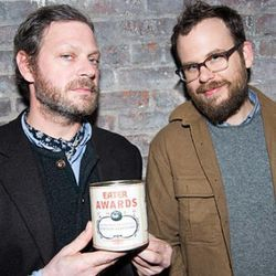 Winner of the Jean-Georges Award for Quietly Killing it, Frank Falcinelli, with his Prime Meats partner Travis Kaufman. [Photo courtesy Metromix]