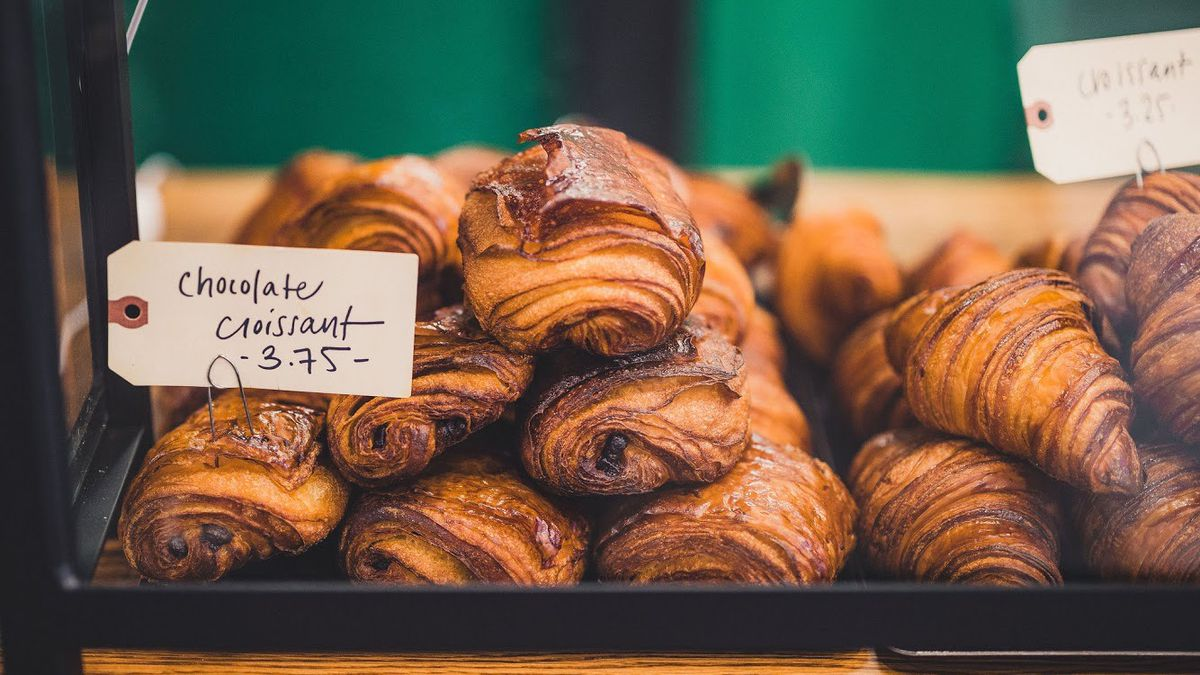 Fresh baked croissants in the the case at Evergreen Butcher and Baker in Kirkwood, Atlanta