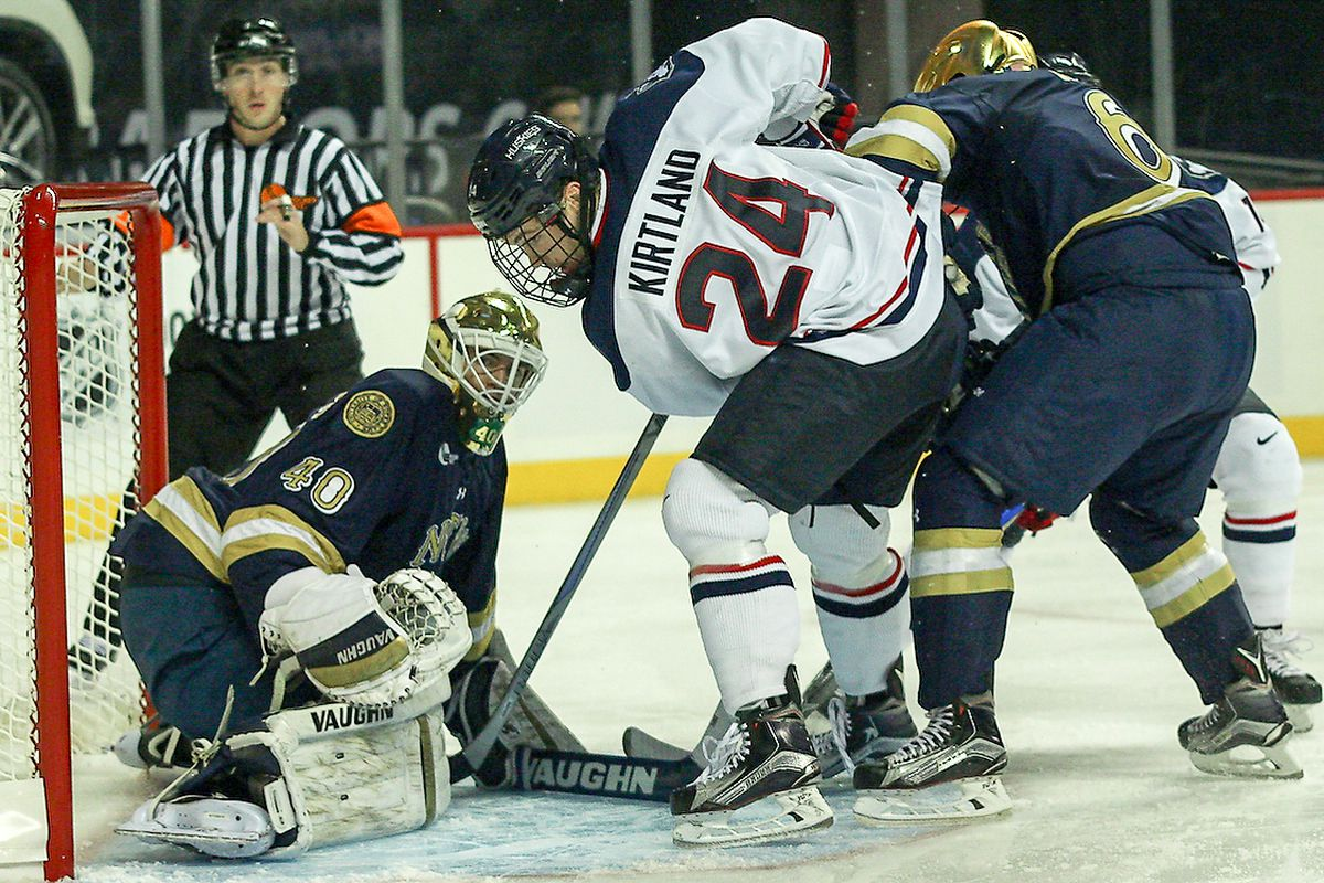 Patrick Kirtland scored a goal for UConn Sunday, but a lackluster performance doomed the Huskies in an 8-2 setback.