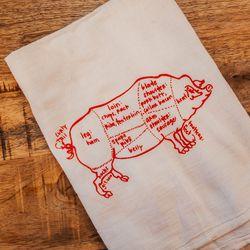 Pig tea towel, $14