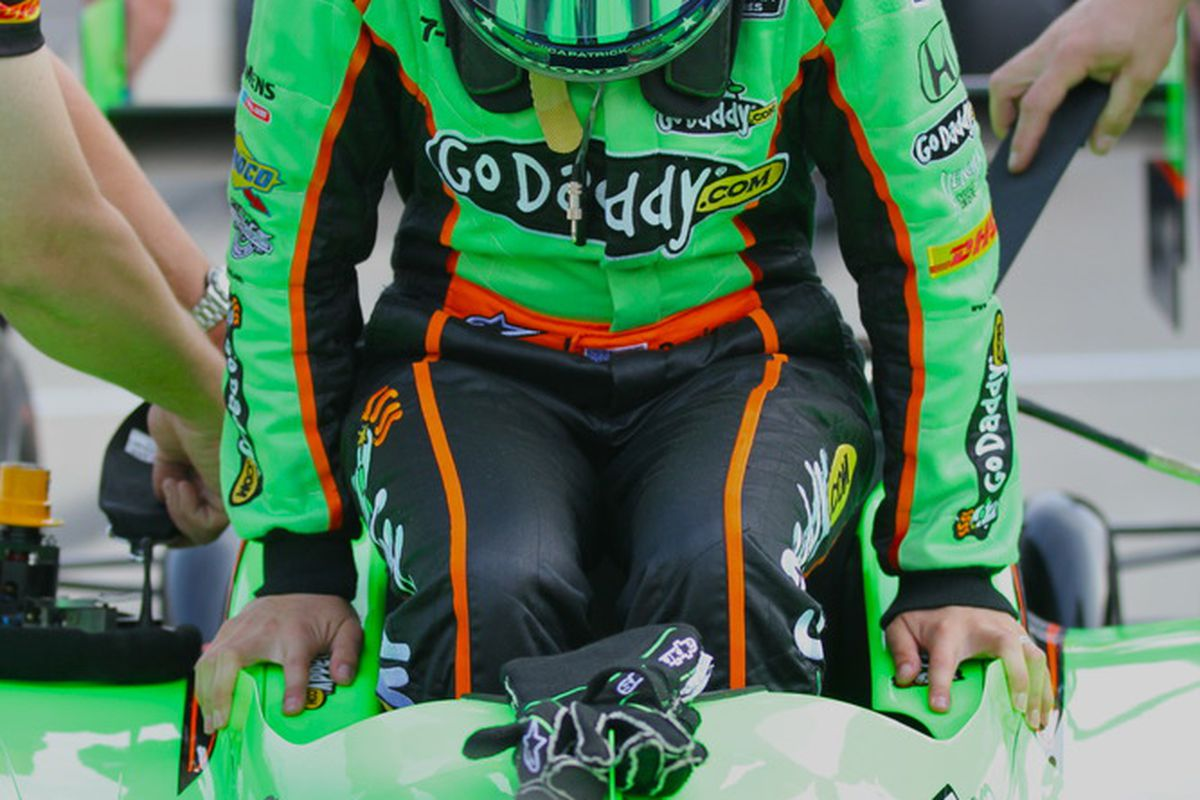 Danica Patrick exits her #7 GoDaddy.com Dallara during Bump Day at the Indianapolis Motor Speedway. (Photo: IndyCar.com)