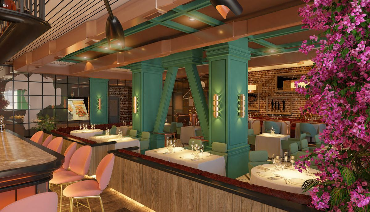 An angled view of a dining room and bar with white tablecloths and pink seats, shown as a rendering for a new restaurant.