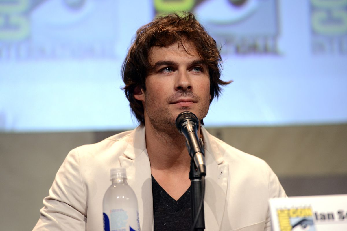 """SAN DIEGO, CA - JULY 12: Actor Ian Somerhalder speaks onstage at the """"The Vampire Diaries"""" panel during Comic-Con International 2015 at the San Diego Convention Center on July 12, 2015 in San Diego, California."""