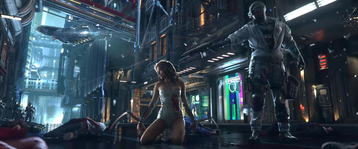 A masked member of the Night City Police Department's Max-Tac squad holds an automatic shotgun to the head of an unnamed woman kneeling, covered in blood, on the streets of Night City.