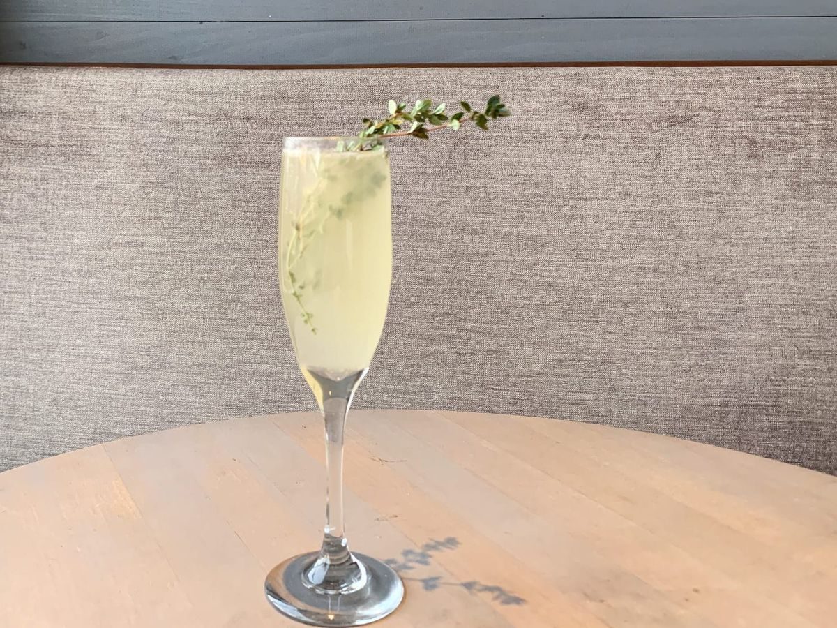 A tall glass of cocktail with champagne looks during the holiday season.