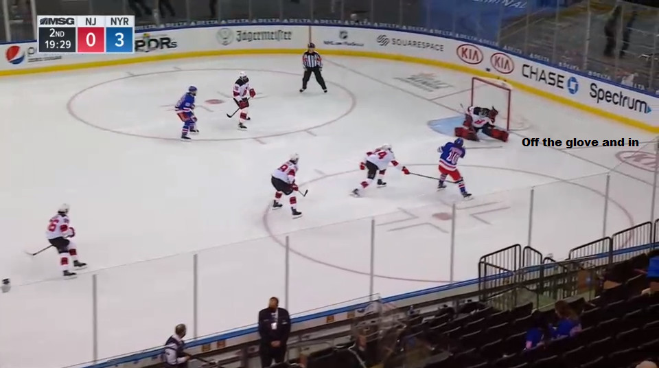 April 17: Artemi Panarin got past Ty Smith quite easily for this shot.  It should have been stopped; the puck went in off the glove. But the rookie Smith was taken to Panarin school on this play.