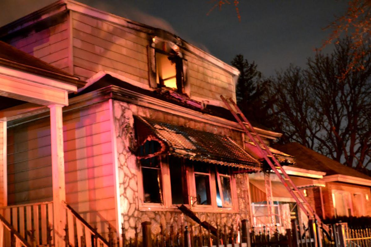 <br>A fire broke out early Sunday in the West Englewood neighborhood on the South Side. Justin Jackson/Sun-Times