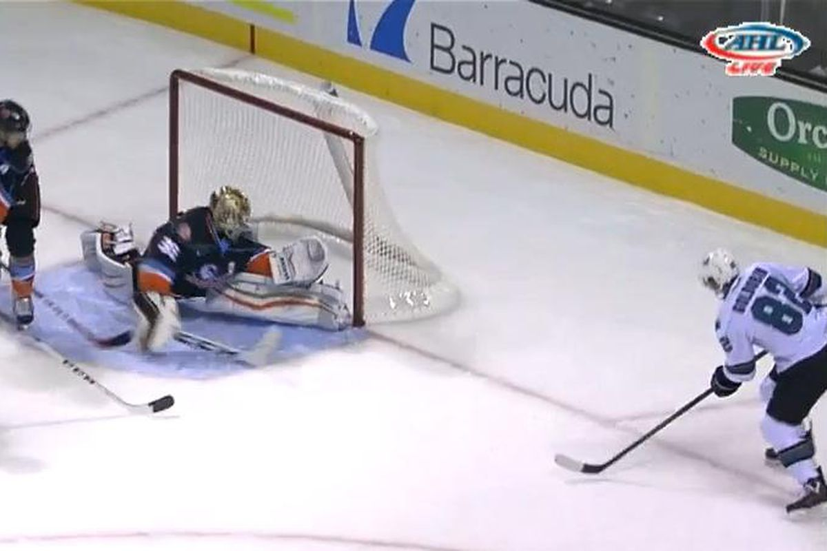 San Jose Barracuda forward Nikolay Goldobin watches as San Diego Gulls goaltender John Gibson makes a post-to-post save on his one-timer attempt during the first period of Friday night's game at SAP Center. (AHL Live)