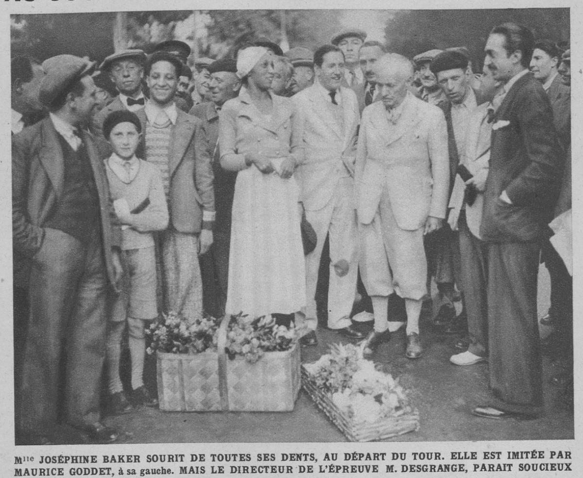 Josephine Baker, Maurice Goddet, Henri Desgrange, at the start of the 1933 Tour de France