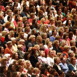 Women attend the General Relief Society Meeting at the Conference Center on Temple Square in Salt Lake City on Saturday, Sept. 29, 2012.