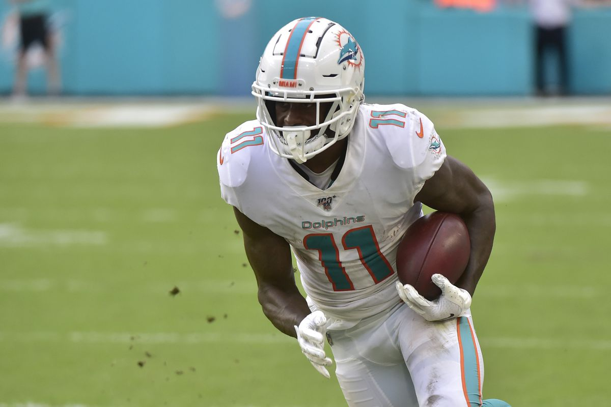 DeVante Parker of the Miami Dolphins runs up field after a catch during the fourth quarter against the New York Jets at Hard Rock Stadium on November 3, 2019 in Miami, Florida.