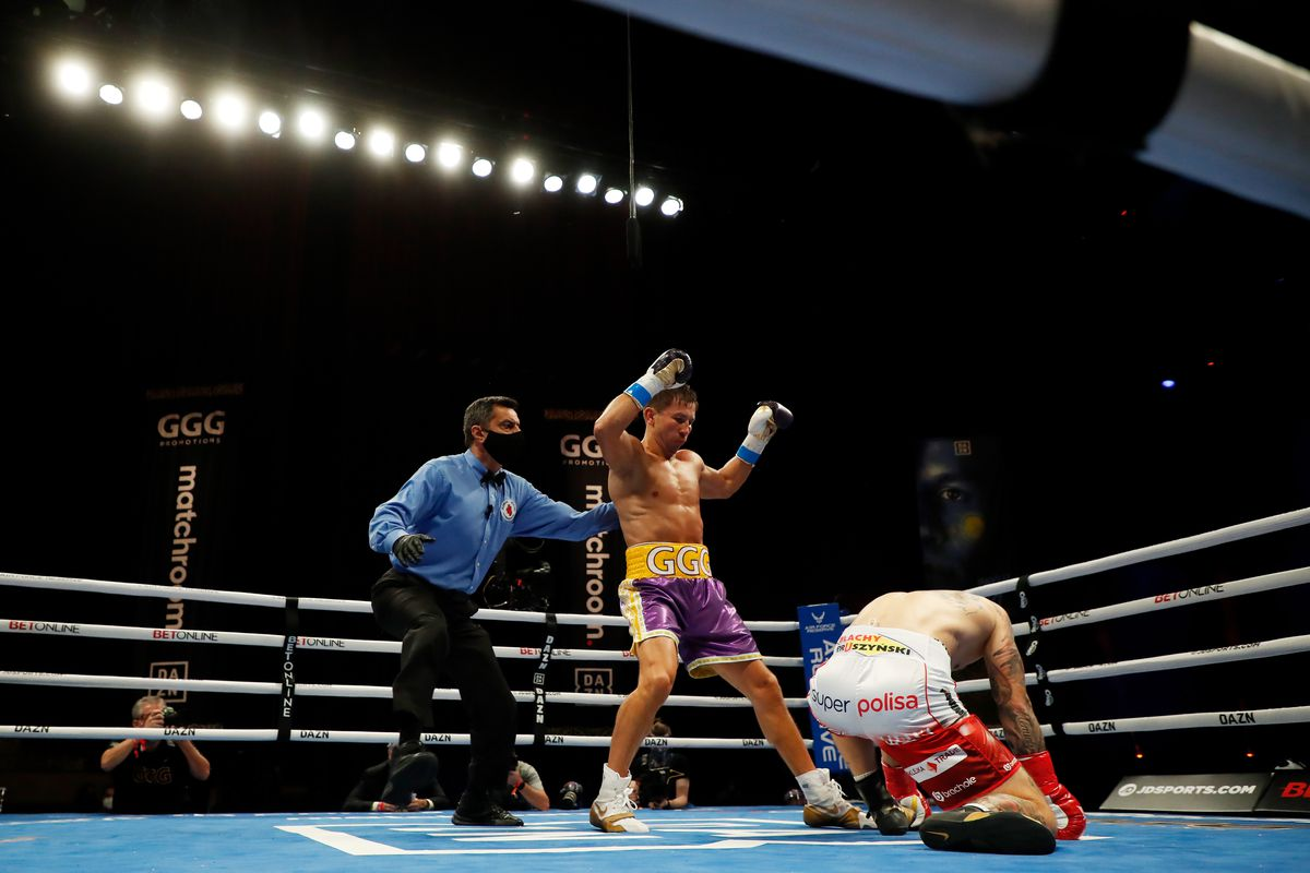 Kamil Szeremeta is knocked down by Gennadiy Golovkin in their IBF Middleweight title bout at Seminole Hard Rock Hotel & Casino on December 18, 2020 in Hollywood, Florida.