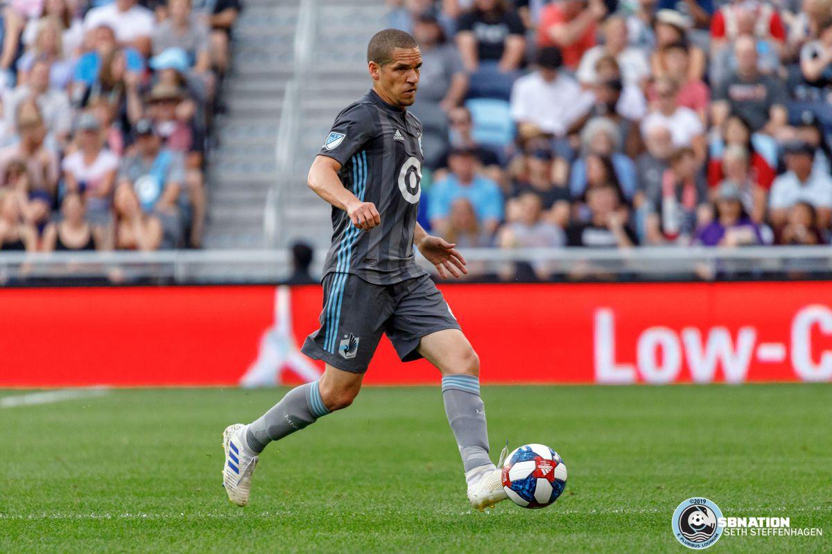 July 3, 2019 - Saint Paul, Minnesota, United States - Minnesota United midfielder Osvaldo Alonso (6) dribbles the ball during the Minnesota United vs San Jose Earthquakes match at Allianz Field.