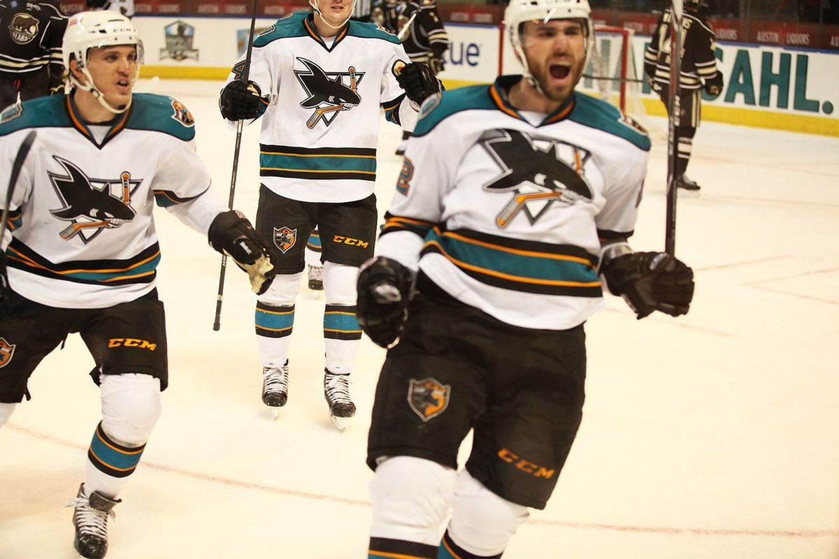 Worcester Sharks forward Dan DaSilva reacts after scoring his franchise leading 60th goal to force overtime Saturday night at the DCU Center.