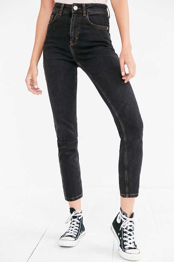 A pair of gray high rise jeans