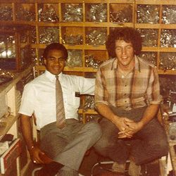Vai Sikahema with Bob Dull after an early morning discussion in Bob?s office at Duell Sporting Goods.