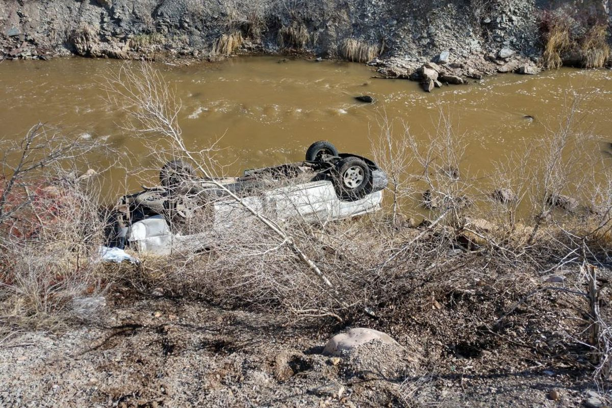 A woman was found dead with her vehicle after a reported rollover crash on I-84 near Morgan on Monday, April 8, 2019.