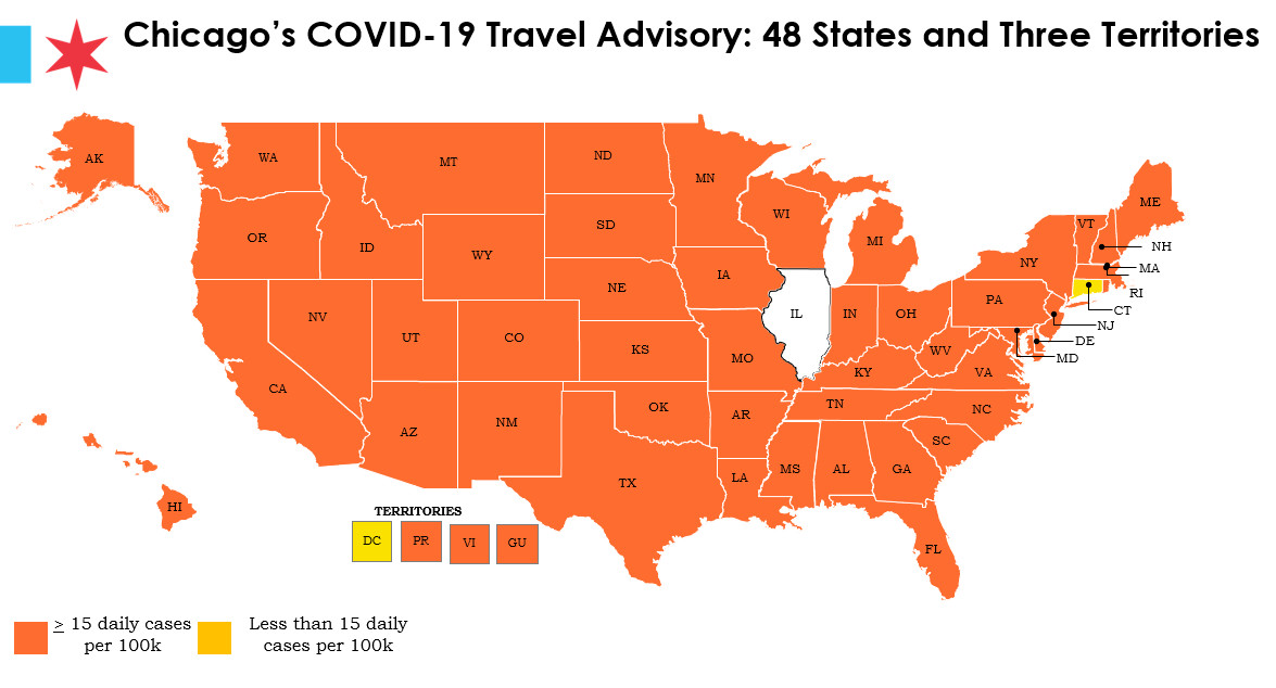 States and territories marked orange are considered COVID-19 hot spots by the city.
