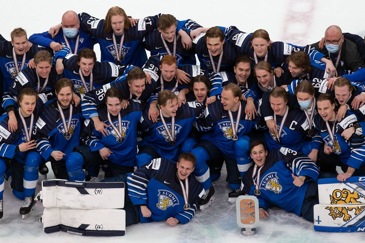 Finland celebrates victory over Russia during the 2021 IIHF World Junior Championship bronze medal game at Rogers Place on January 5, 2021 in Edmonton, Canada.