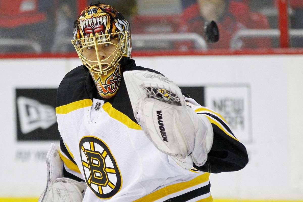 Remember that time Tuukka Rask had a new mask for like 0.01 seconds then went back to this one? good times.