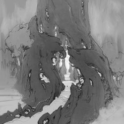"""""""An early concept for the approach to the Winter Queen's Court, beyond which only her most trusted subjects would gain entrance. At the base of this massive, magical tree, we wanted to suggest architectural features like windows and columns that swirled up into the natural rhythms of the bark and branches."""" Matt OConnor – Senior Concept Artist"""