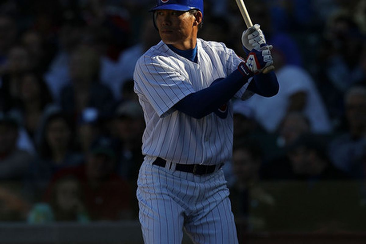 CHICAGO - SEPTEMBER 24: Kosuke Fukudome #1 of the Chicago Cubs prepares to bat against the St. Louis Cardinals at Wrigley Field on September 24 2010 in Chicago Illinois. The Cardinals defeated the Cubs 7-1. (Photo by Jonathan Daniel/Getty Images)