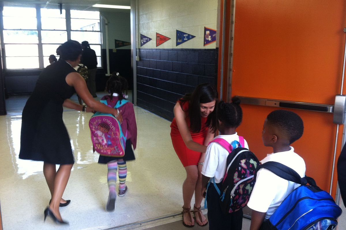 Students at Freedom Prep, a charter school in Memphis, are welcomed on the first day of school in 2015.