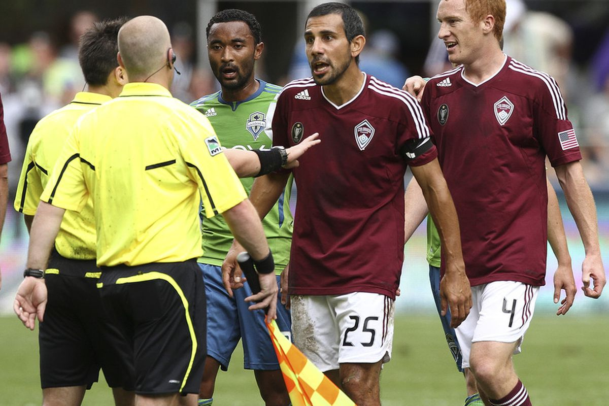 SEATTLE - JULY 16:  Pablo Mastroeni #25 of the Colorado Rapids argues with the referee during the game against the Seattle Sounders FC at CenturyLink Field on July 16, 2011 in Seattle, Washington. (Photo by Otto Greule Jr/Getty Images)