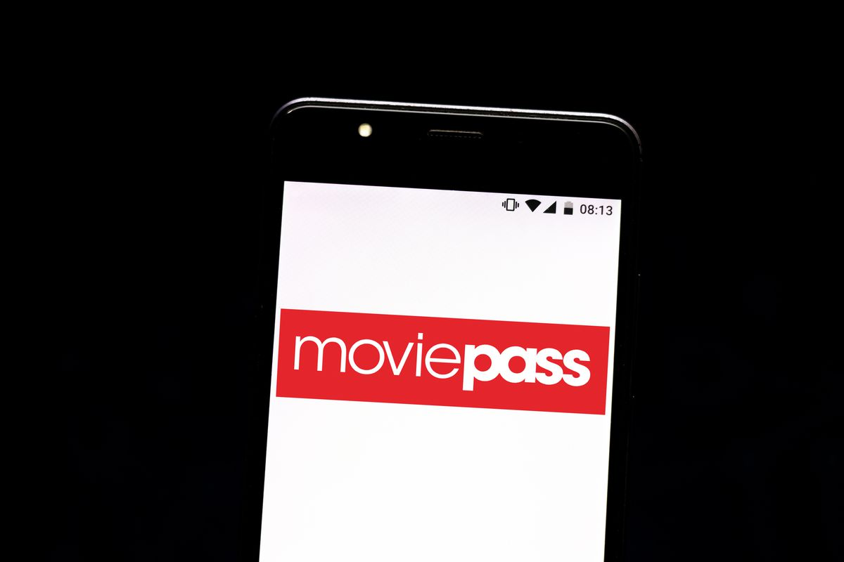MoviePass's logo on a mobile device screen