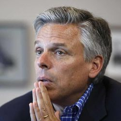 Former Utah Governor and GOP Presidential Primary candidate Jon Huntsman Jr., talks in during an interview  Tuesday, May 1, 2012, in Salt Lake City, Utah.