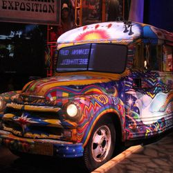 This bus decorated in the psychedelic motif of the late 1960s is displayed in the museum at the Bethel Woods Center for the Arts.