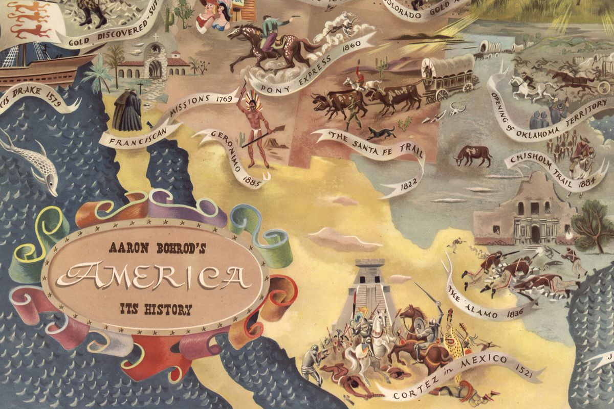 Aaron Bohrod's map of American history. (Bohrod/Library of Congress)