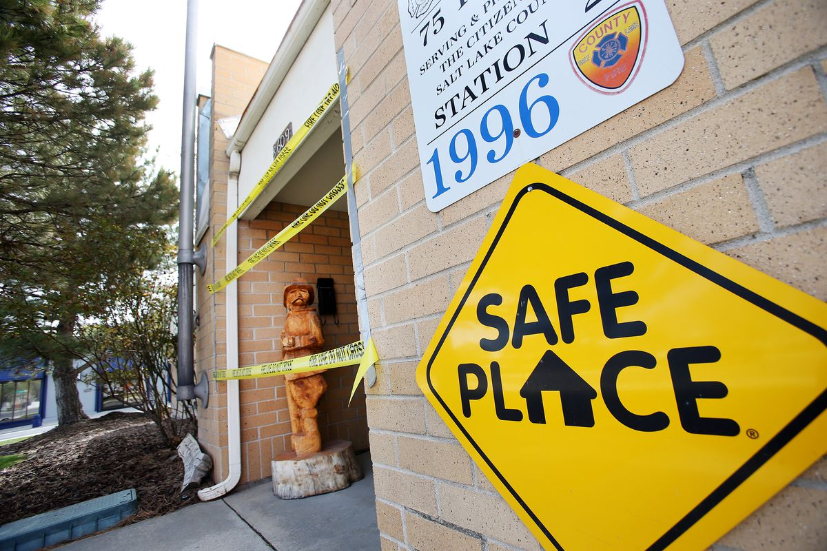 """""""Do Not Cross"""" tape is stretched across the entrance to the Unified Fire Authority's Station 102 in Magna on Friday, April 17, 2020. Unified officials announced Friday that the crews at the station, 8609 W. Main, will relocate to Station 111, 8215 W. 3500 South, less than 2 miles away, due to concerns over the recent increase in seismic activity in the area."""