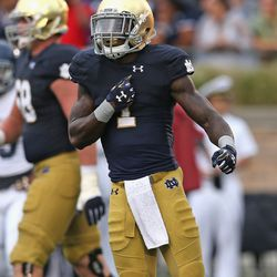 Greg Bryant and his biceps celebrate their touchdown run.