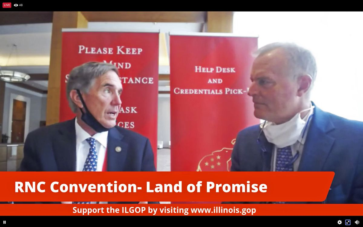 Illinois Republican Party Chairman Tim Schneider, left, and Republican National Committeeman Richard Porter participate in a Republican National Convention livestream on Facebook Monday.