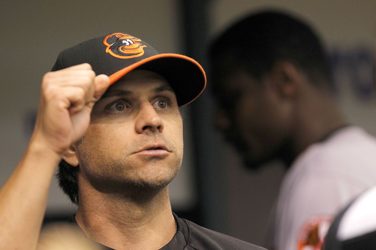 """Fresh off an Arrested Development marathon, Brian Roberts leads the bench in a """"Steve Holt!"""" chant."""