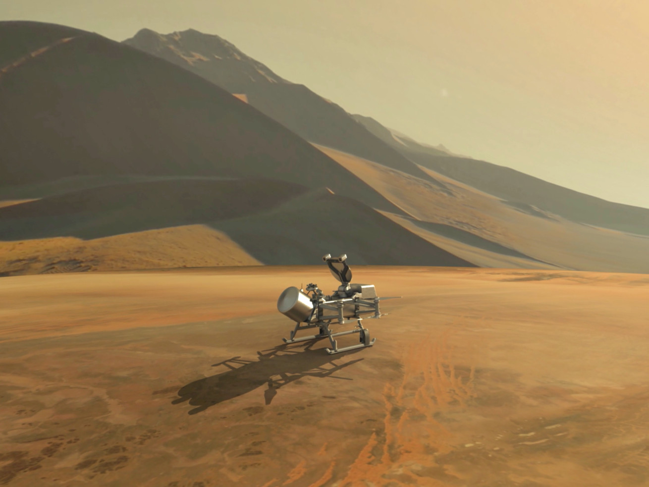 An artist's depiction of Dragonfly on Titan's surface.