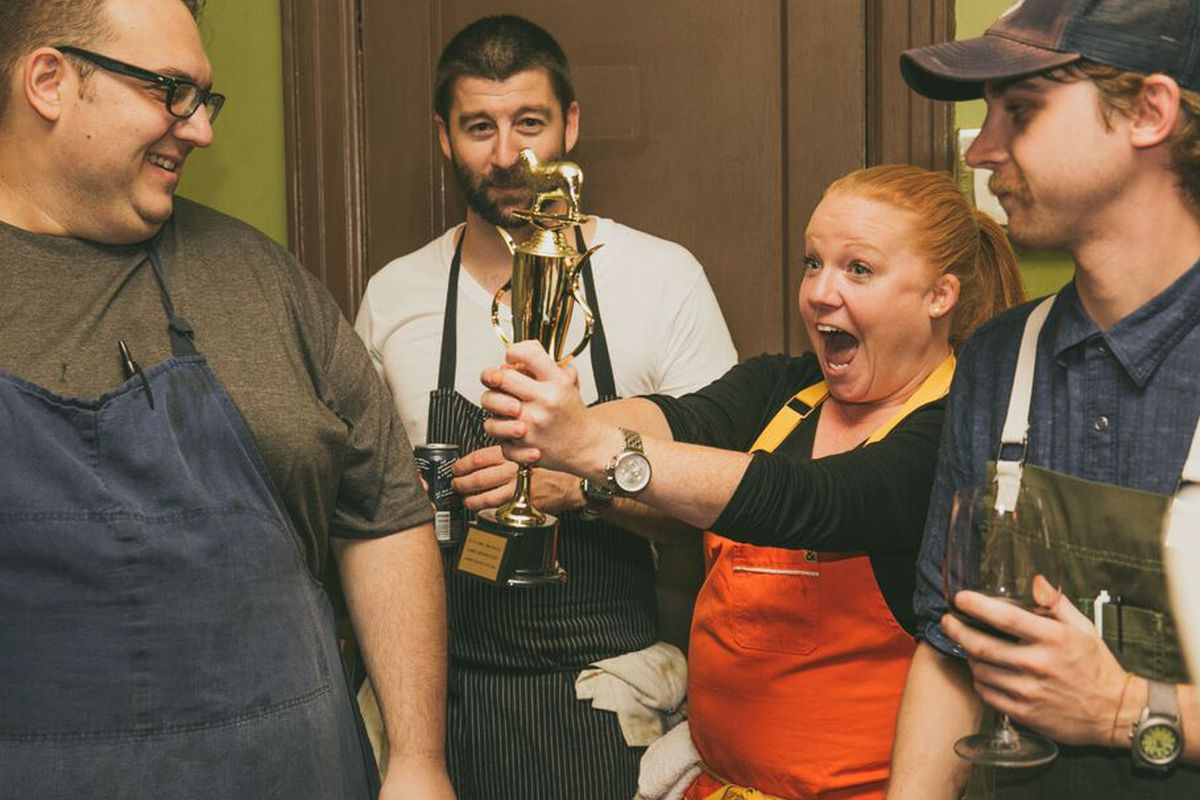 From left: Dan Raia, Mike Stark, Tiffani Faison, and a sous chef from Jacoby's Restaurant & Mercantile in Austin.