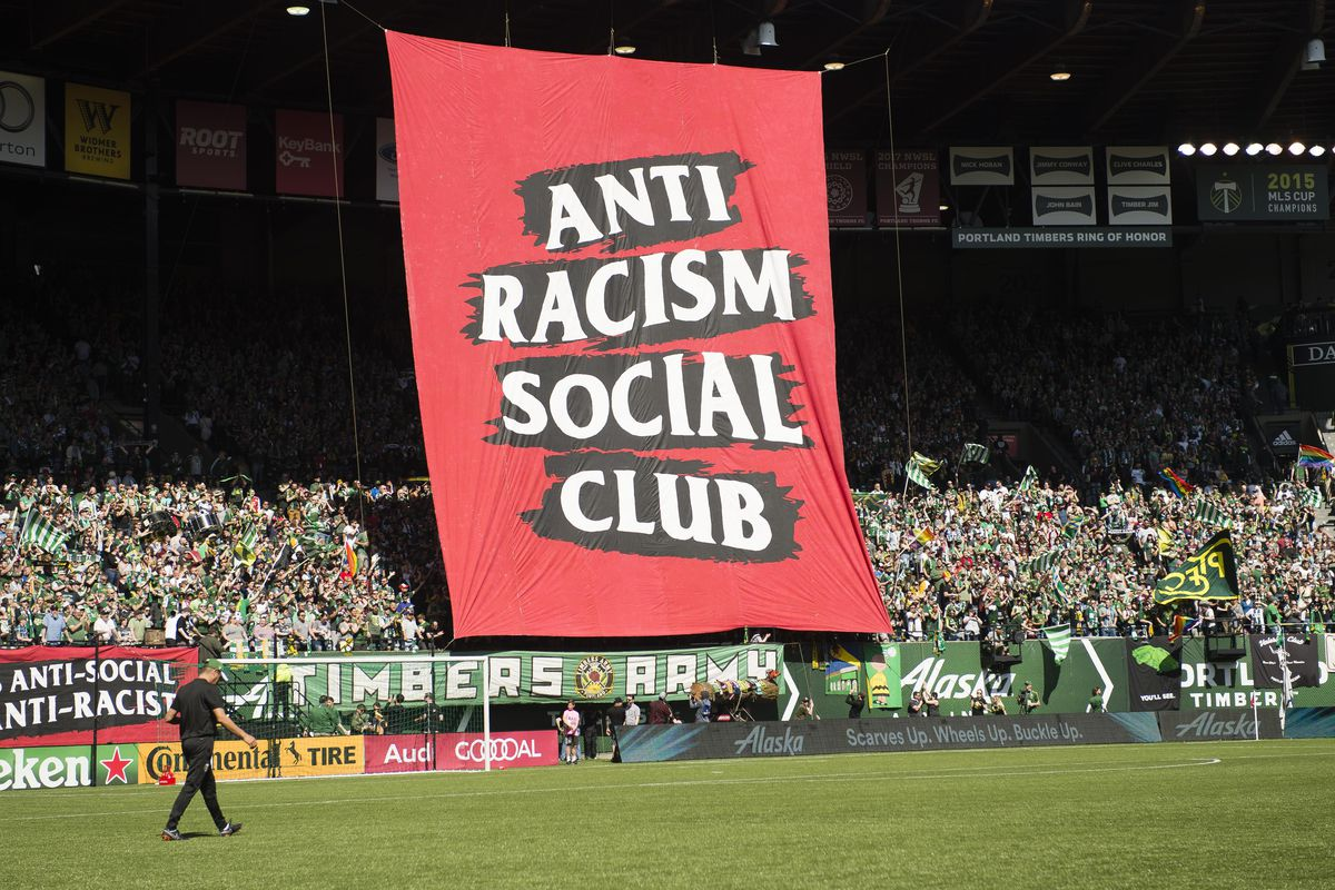 Image result for portland timbers banner antifa""