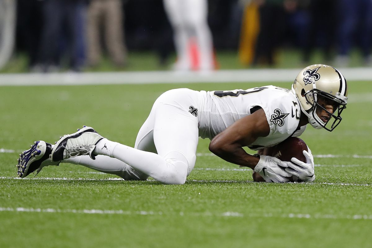 Michael Thomas of the New Orleans Saints makes a reception during the second quarter against the Minnesota Vikings in the NFC Wild Card Playoff game at Mercedes Benz Superdome on January 05, 2020 in New Orleans, Louisiana.