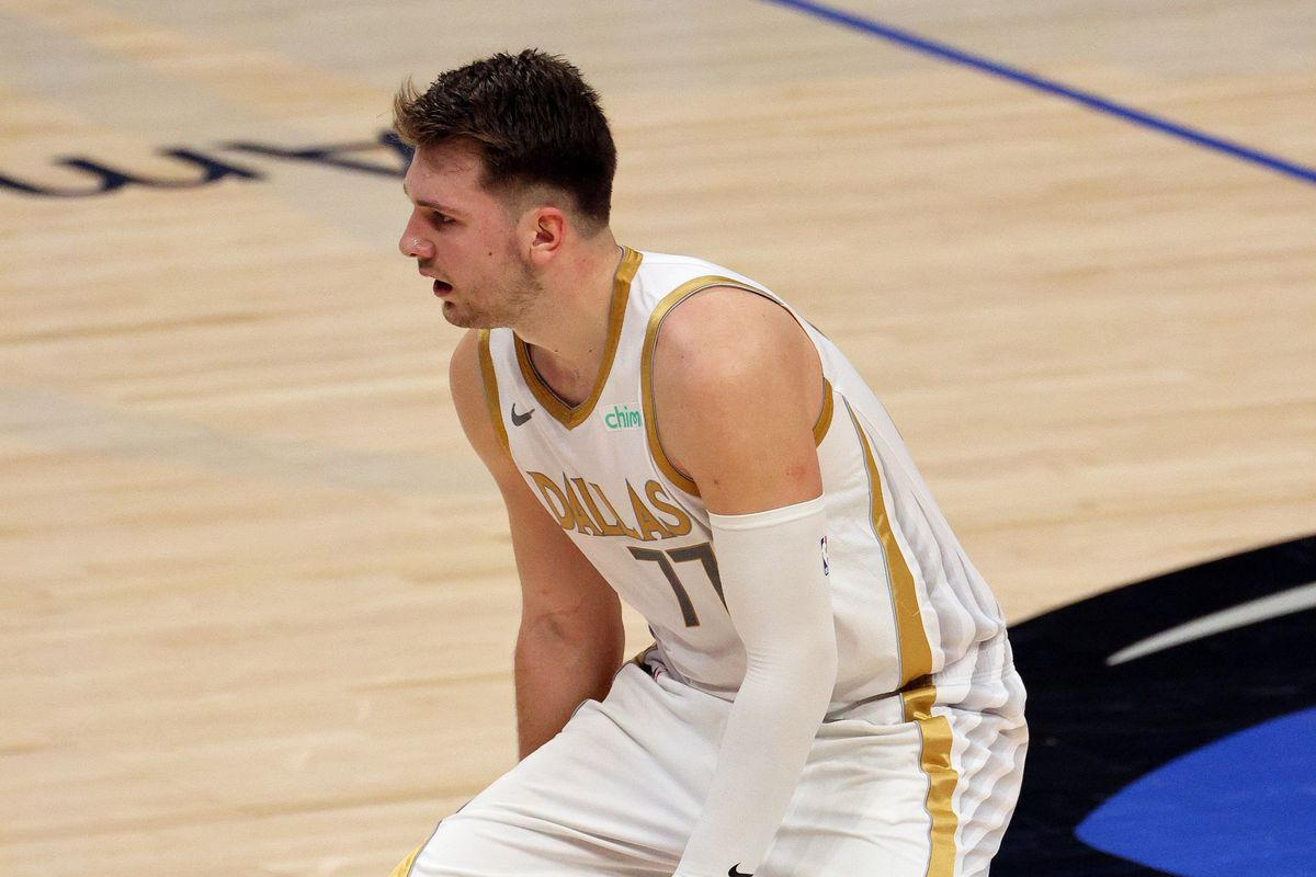 Luka Doncic of the Dallas Mavericks in the third quarter at American Airlines Center on January 25, 2021 in Dallas, Texas.