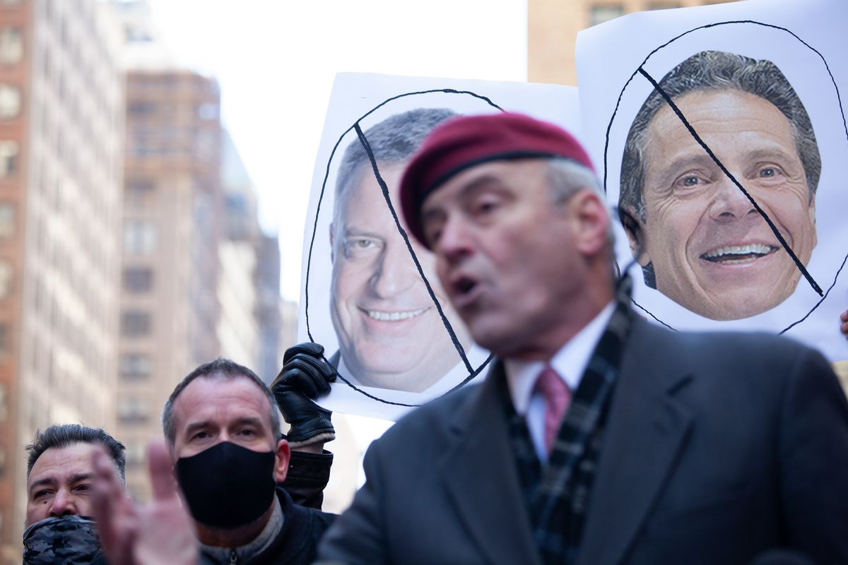Curtis Sliwa kicked off his mayoral campaign outside Penn Station by attacking New York's two most powerful Democratic leaders, March 15, 2021.