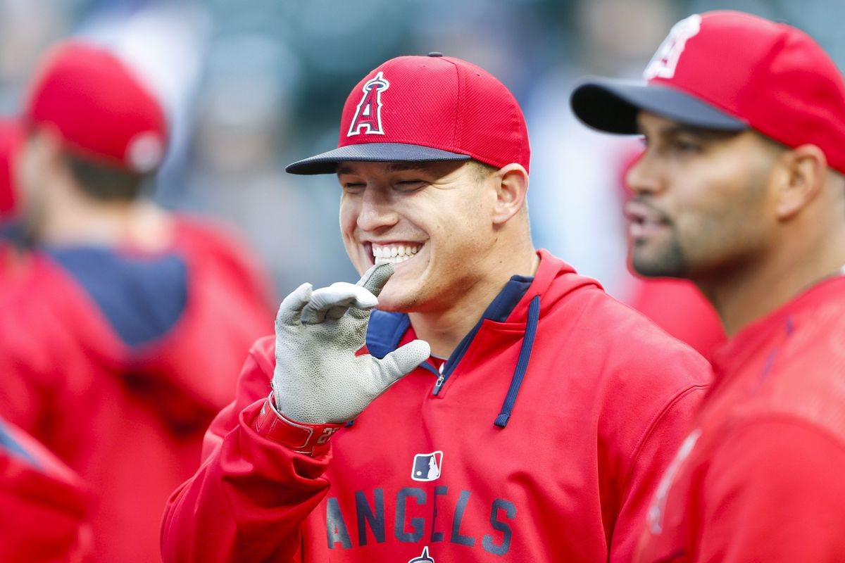 Mike Trout enjoys Opening Day