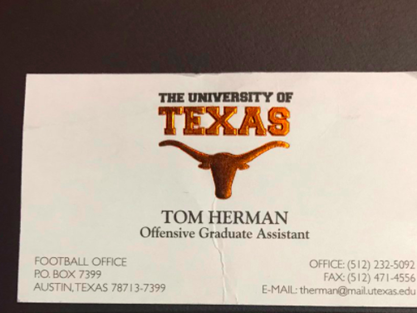 Tom herman shows hard work pays off with his two texas business tom herman shows hard work pays off with his two texas business cards sbnation colourmoves