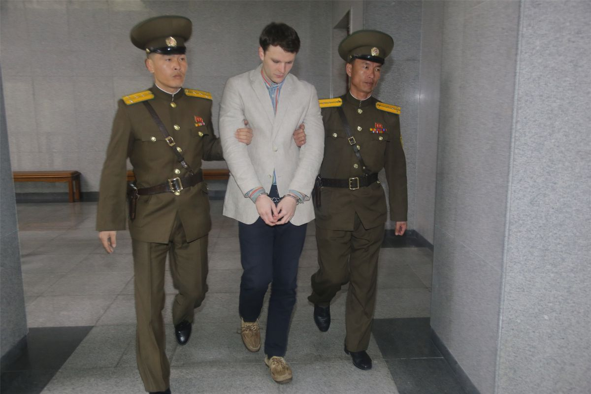 American student Otto Warmbier arrives at court for his trial in Pyongyang, North Korea, on March 16, 2015.