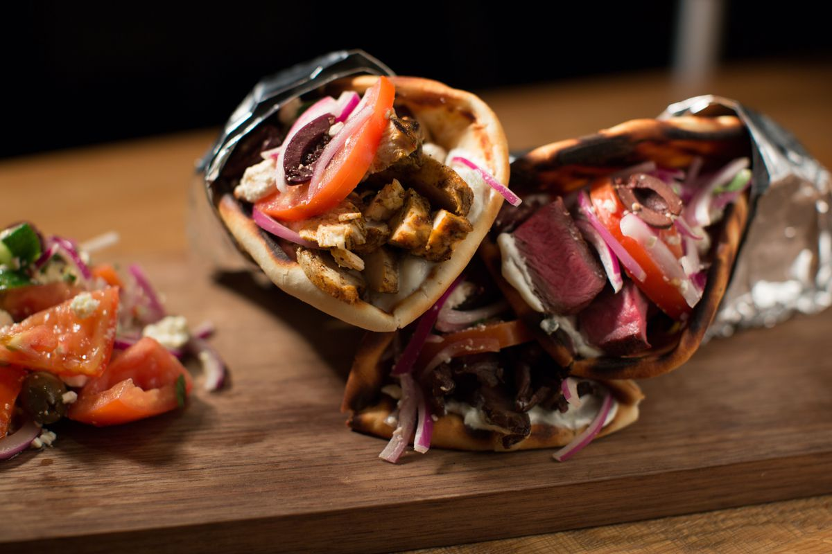 Steak and chicken pitas at Greek Sneek