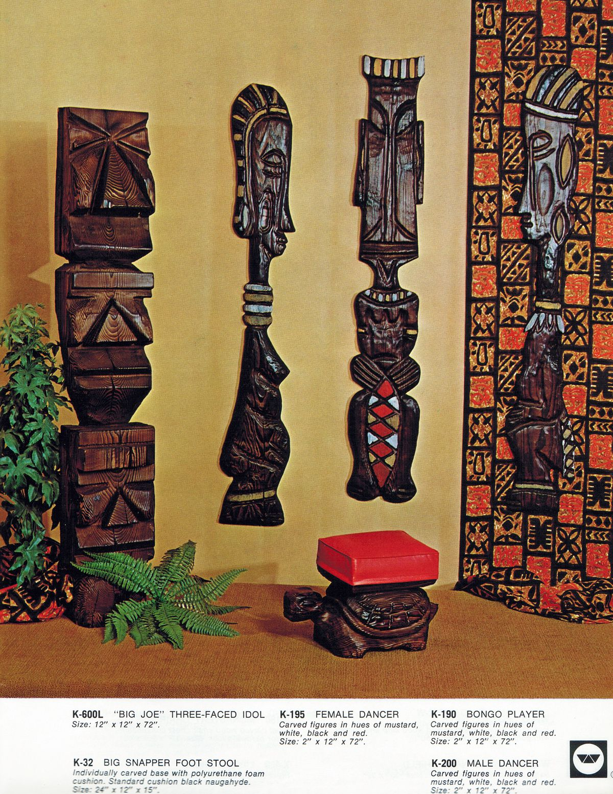 """An old Witco catalogue featuring three-headed """"Big Joe"""" and other carvings. 