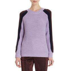 """<b>Opening Ceremony</b> Contrast Raglan Sleeve Sweater, <a href=""""http://www.barneys.com/Opening-Ceremony-Contrast-Raglan-Sleeve-Sweater/502032977,default,pd.html?cgid=womens-sweaters&index=14"""">$179</a> at Barney's"""