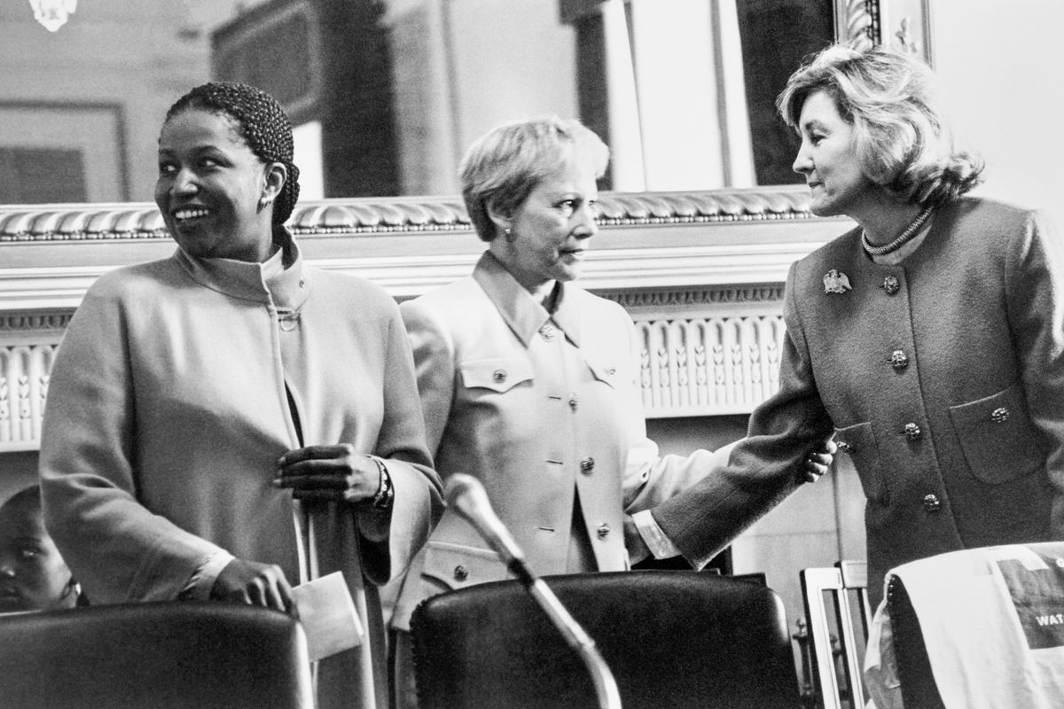 """Sens. Carol Moseley Braun (D-IL), Nancy Kassebaum (R-KS), and Kay Bailey Hutchison (R-TX), together on """"Take your Daughter to Work Day,"""" on April 27, 1995"""